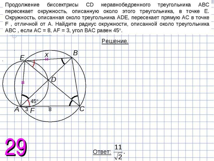 Продолжение биссектрисы CD неравнобедренного треугольника ABC пересекает окру...