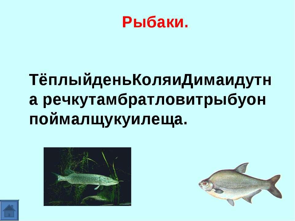 Рыбаки. ТёплыйденьКоляиДимаидутна речкутамбратловитрыбуон поймалщукуилеща.