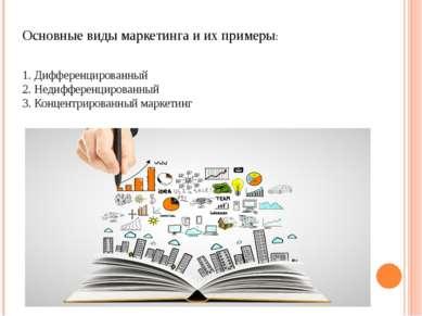Основные виды маркетинга и их примеры: 1. Дифференцированный 2. Недифференцир...