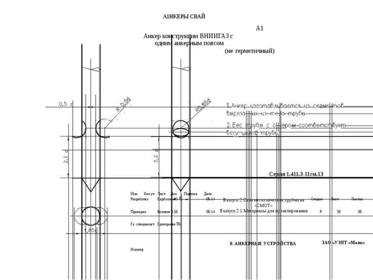А1НКЕРЫСВАЙ А1 Анкер конструкцииВНИИГАЗсодниманкернымпоясом (негерметичный) С...