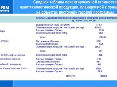 Сводная таблица ориентировочной стоимости нанотехнологической продукции, план...