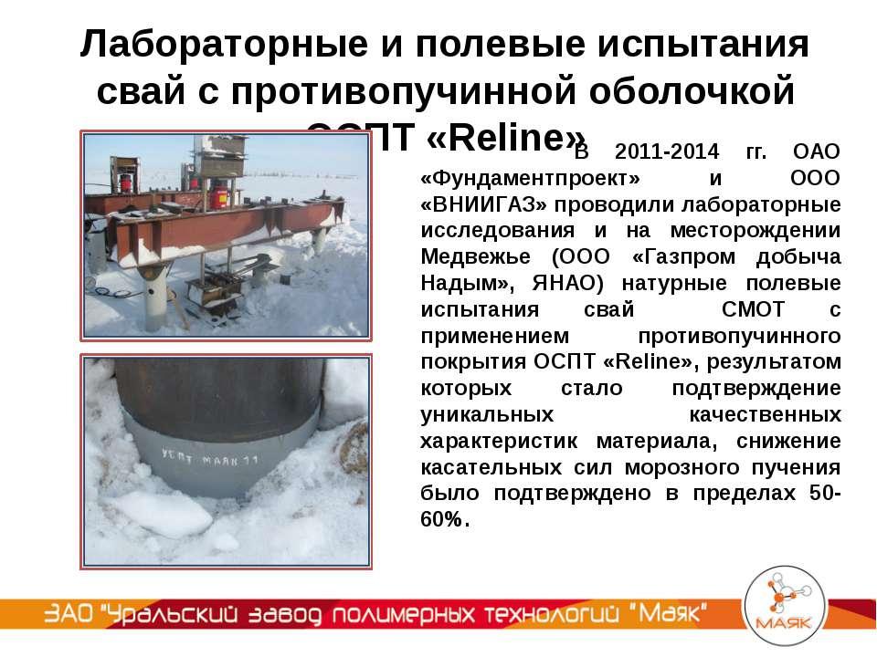 Лабораторные и полевые испытания свай с противопучинной оболочкой ОСПТ «Relin...
