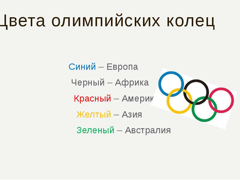 Цвета олимпийских колец Синий – Европа Черный – Африка Красный – Америка Желт...