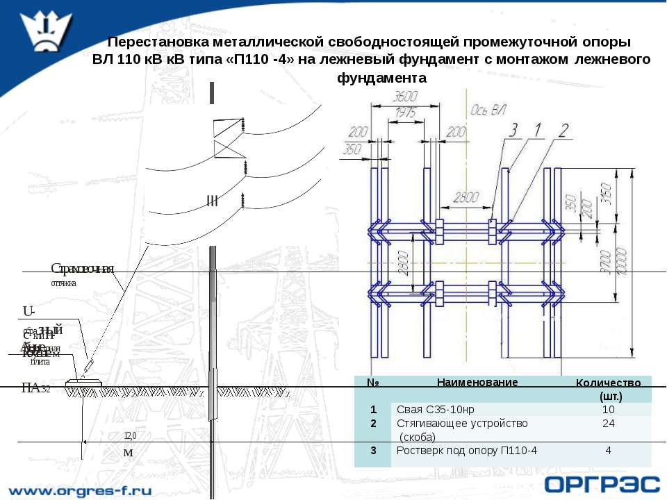 Перестановка металлической свободностоящей промежуточной опоры ВЛ 110 кВ кВ т...