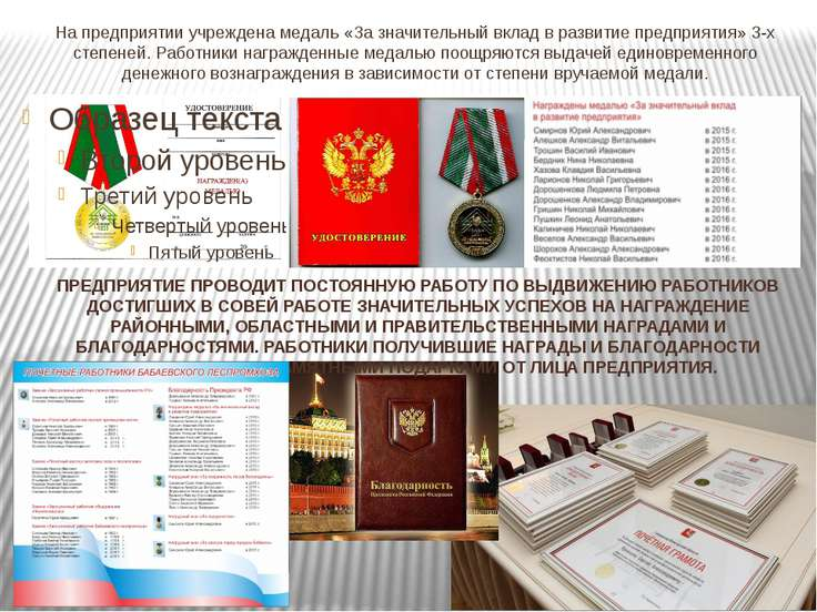 На предприятии учреждена медаль «За значительный вклад в развитие предприятия...