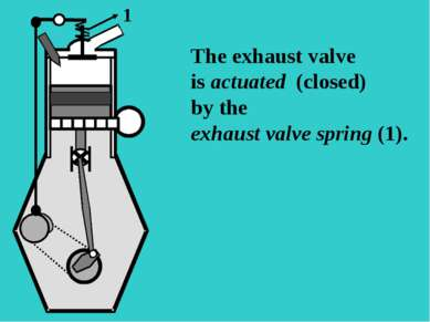 S The exhaust valve is actuated (closed) by the exhaust valve spring (1). 1