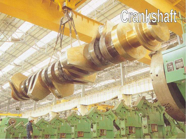 S The crank (1) is connected to the crankshaft (2). 1 2