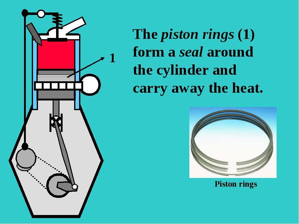 SO The piston rings (1) form a seal around the cylinder and carry away the he...