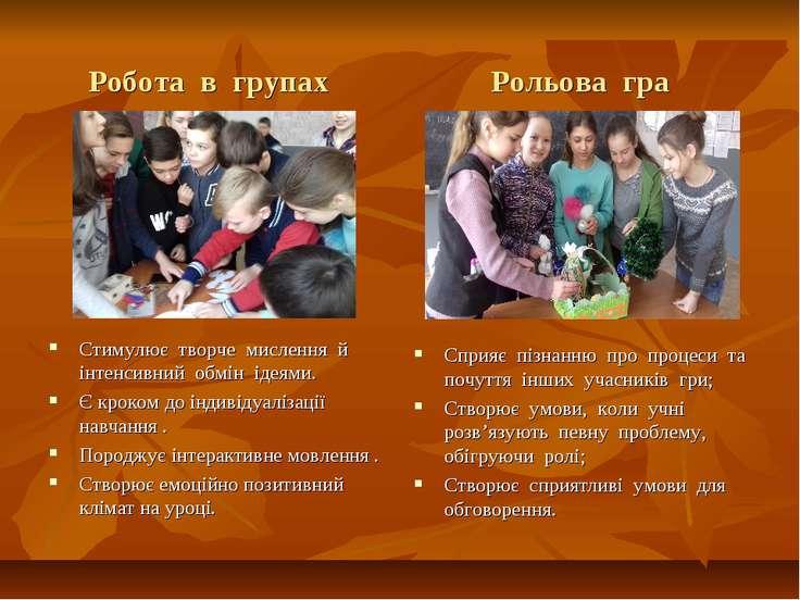Робота в групах Рольова гра Стимулює творче мислення й інтенсивний обмін ідея...