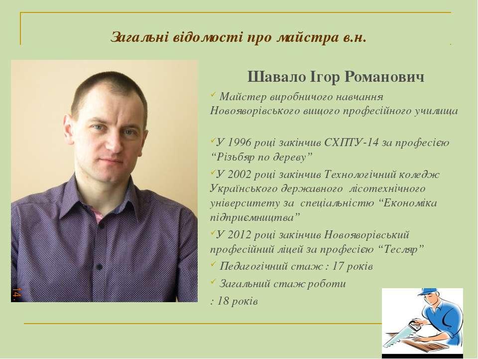 Загальні відомості про майстра в.н. Шавало Ігор Романович Майстер виробничого...