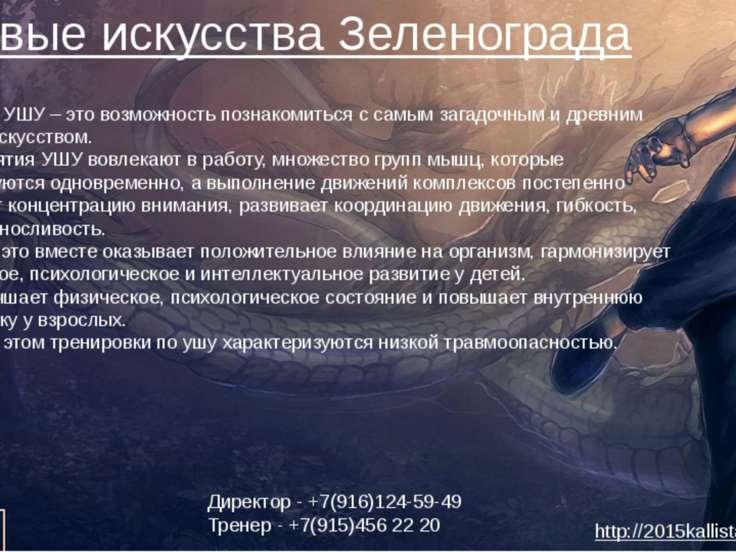 Боевые искусства Зеленограда Изучение УШУ – это возможность познакомиться с с...