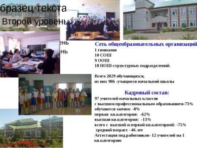 Сеть общеобразовательных организаций: 1 гимназия 10 СОШ 9 ООШ 18 НОШ-структур...
