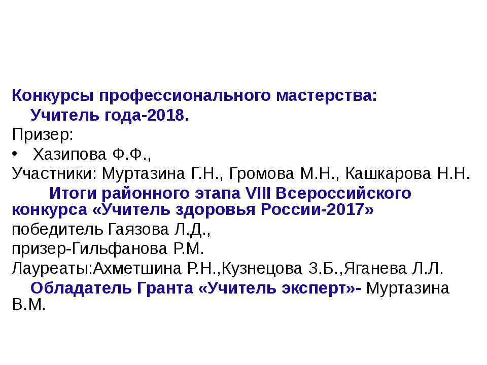 Конкурсы профессионального мастерства: Учитель года-2018. Призер: Хазипова Ф....