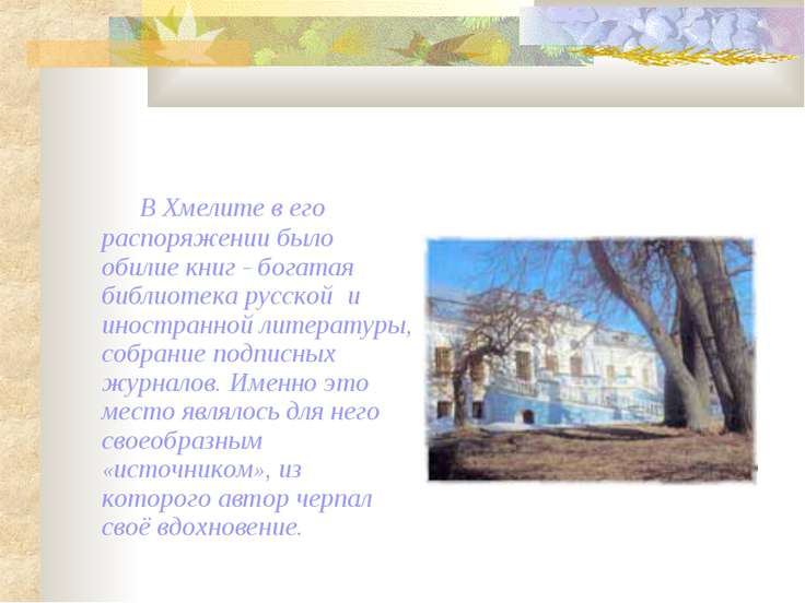 В Хмелите в его распоряжении было обилие книг - богатая библиотека русской и ...
