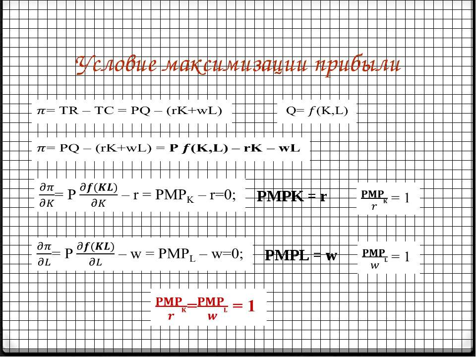 Условие максимизации прибыли      PMPK = r PMPL = w