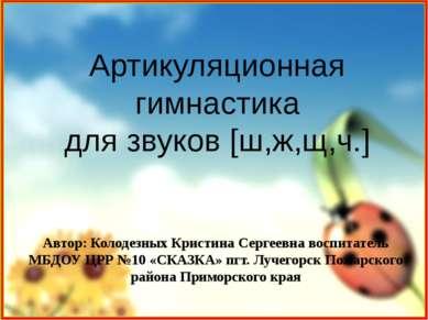 Артикуляционная гимнастика для звуков [ш,ж,щ,ч.] Автор: Колодезных Кристина С...