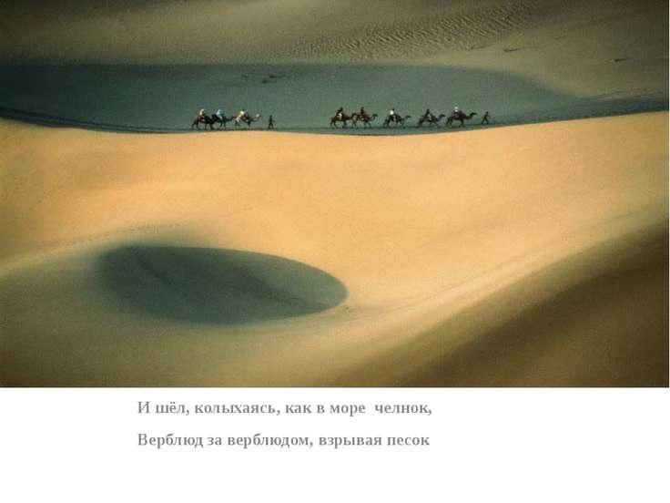 И шёл, колыхаясь, как в море челнок, Верблюд за верблюдом, взрывая песок