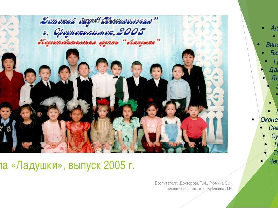 группа «Ладушки», выпуск 2005 г. Воспитатели: Докторова Т.И., Рюмина О.Н. Пом...