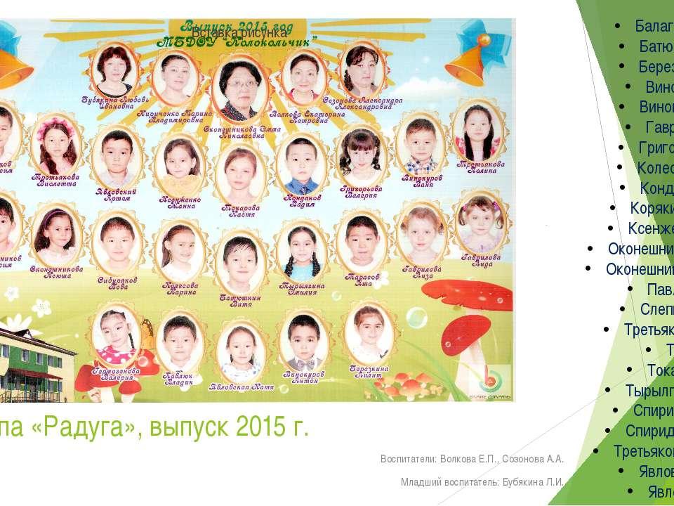 Группа «Радуга», выпуск 2015 г. Воспитатели: Волкова Е.П., Созонова А.А. Млад...