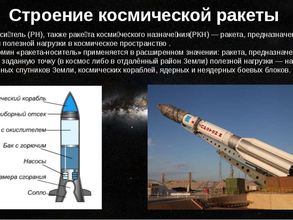 Строение космической ракеты Ракета-носитель(РН), такжераке та космического ...