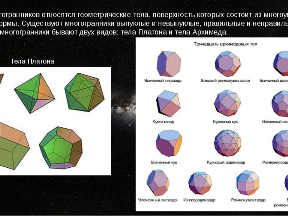 К классу многогранников относятся геометрические тела, поверхность которых со...