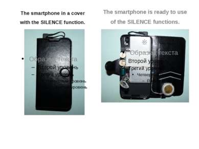 The smartphone in a cover with the SILENCE function. The smartphone is ready ...