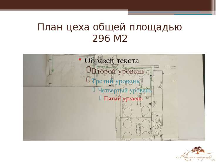 План цеха общей площадью 296 М2
