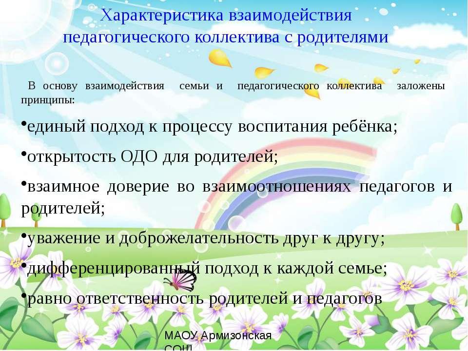 Характеристика взаимодействия педагогического коллектива с родителями В основ...