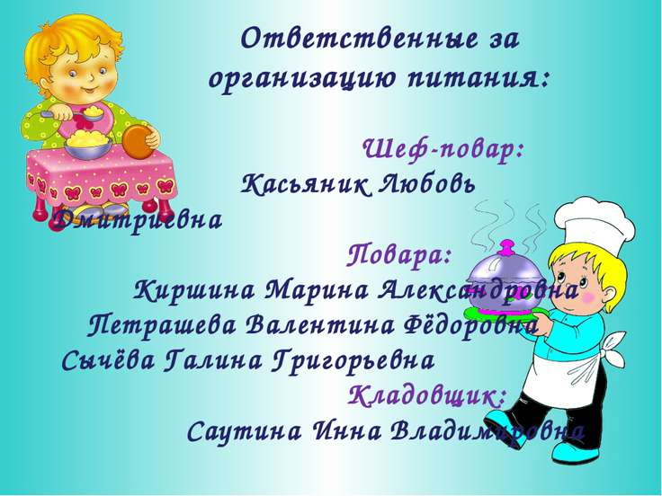 Ответственные за организацию питания: Шеф-повар: Касьяник Любовь Дмитриевна П...