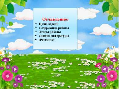 Оглавление: Цели. задачи Содержание работы Этапы работы Список литературы Фот...