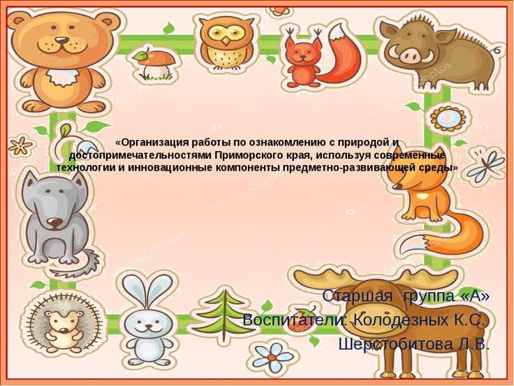 «Организация работы по ознакомлению с природой и достопримечательностями Прим...
