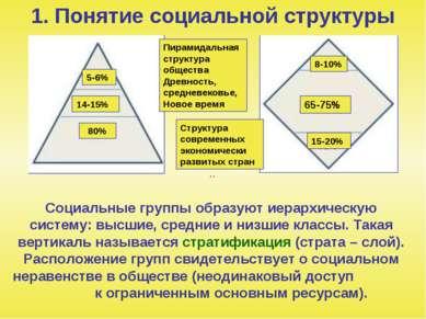 1. Понятие социальной структуры Социальные группы образуют иерархическую сист...