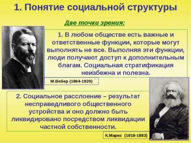 1. Понятие социальной структуры Две точки зрения: 1. В любом обществе есть ва...