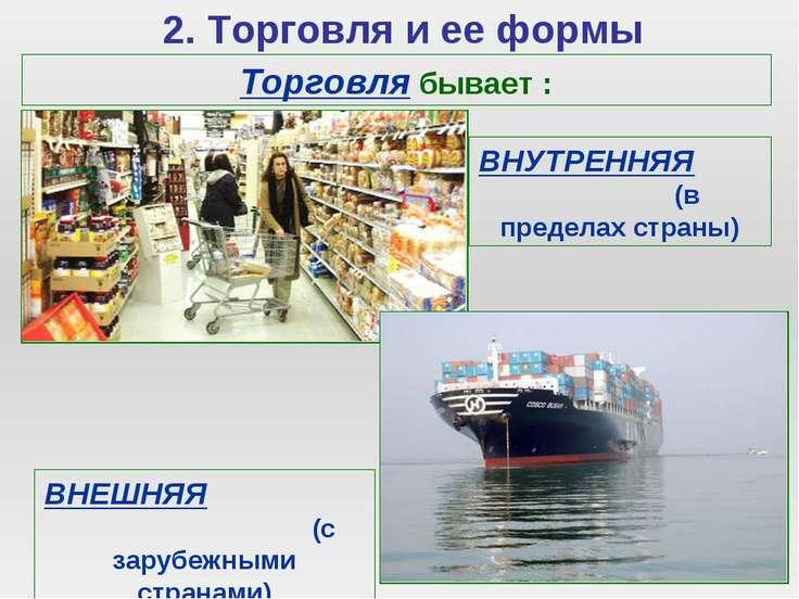 2. Торговля и ее формы Торговля бывает : ВНУТРЕННЯЯ (в пределах страны) ВНЕШН...