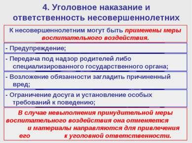 4. Уголовное наказание и ответственность несовершеннолетних К несовершеннолет...