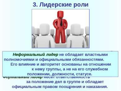 3. Лидерские роли Формальное лидерство- процесс влияния на людей с позиции з...