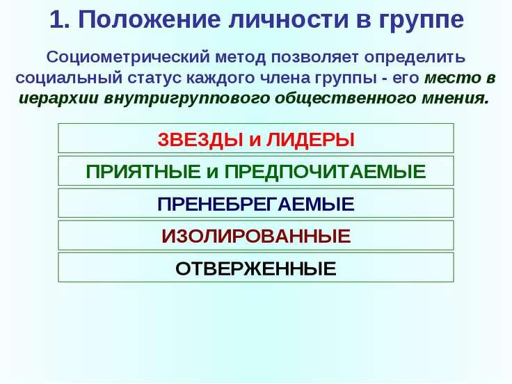 1. Положение личности в группе Социометрический метод позволяет определить со...
