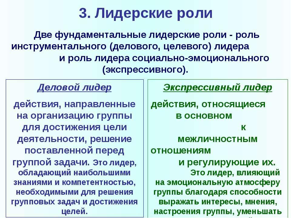 3. Лидерские роли Две фундаментальные лидерские роли- роль инструментального...