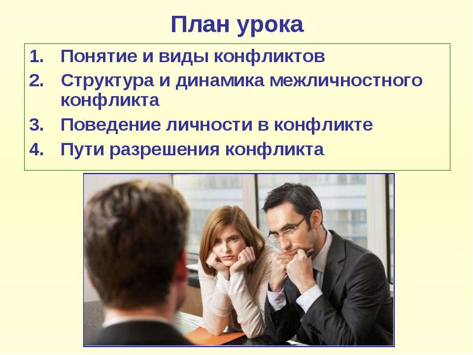 План урока Понятие и виды конфликтов Структура и динамика межличностного конф...