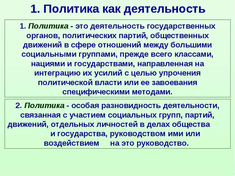 1. Политика как деятельность 1.Политика- это деятельность государственных о...