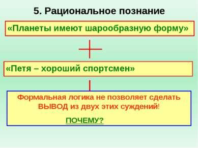 5. Рациональное познание «Планеты имеют шарообразную форму» «Петя – хороший с...