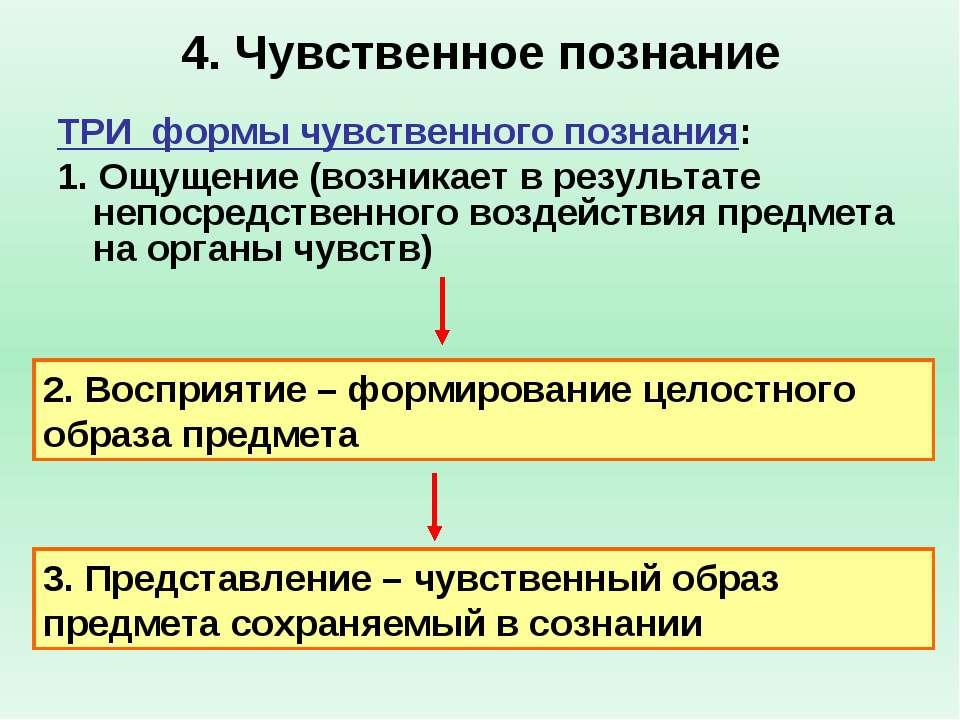 4. Чувственное познание ТРИ формы чувственного познания: 1. Ощущение (возника...