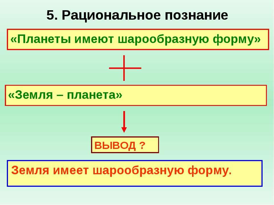 5. Рациональное познание «Планеты имеют шарообразную форму» «Земля – планета»...