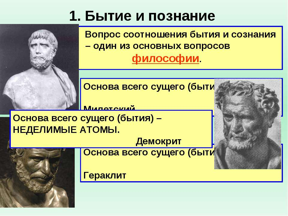 1. Бытие и познание Вопрос соотношения бытия и сознания – один из основных во...