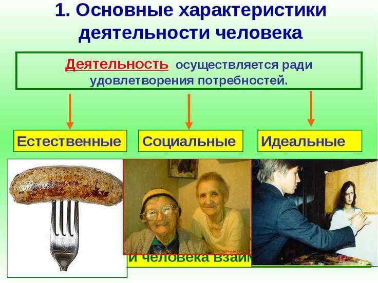 1. Основные характеристики деятельности человека Деятельность осуществляется ...
