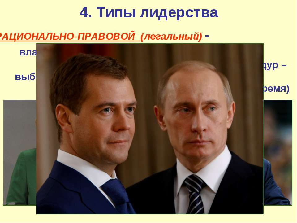 4. Типы лидерства РАЦИОНАЛЬНО-ПРАВОВОЙ (легальный) - власть определяется зако...