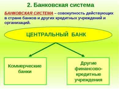 2. Банковская система БАНКОВСКАЯ СИСТЕМА – совокупность действующих в стране ...