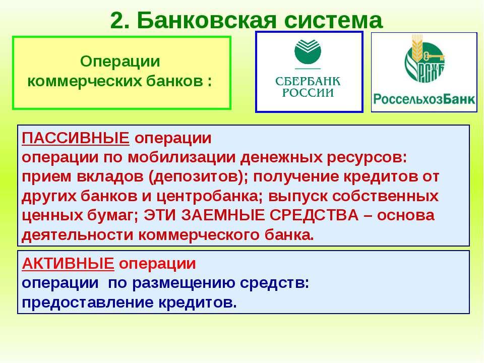 2. Банковская система Операции коммерческих банков : ПАССИВНЫЕ операции опера...
