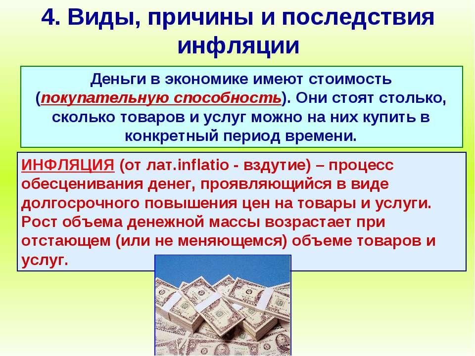 4. Виды, причины и последствия инфляции Деньги в экономике имеют стоимость (п...