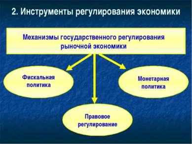 2. Инструменты регулирования экономики Механизмы государственного регулирован...